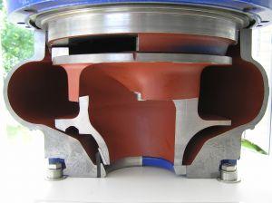 Schnittmodell einer Abwassertauchpumpe: links mit eingebauten Abdichtsystem, rechts mit Originalspaltring